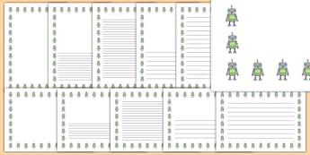 Robot Portrait Page Borders- Portrait Page Borders - Page border, border, writing template, writing aid, writing frame, a4 border, template, templates, landscape