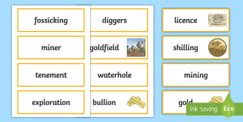 The gold rush year 5 6 history resources page 3 gold rush word cards gold rush eureka stockade gold history australia fandeluxe Images