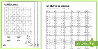 French Frequency Adverbs Differentiated Word Search - French Grammar, KS3, KS4, adverbs, frequency, adverbes, fréquence, word search, wordsearch, soupe d