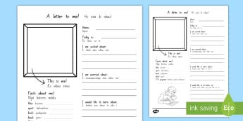 A Letter To Myself Activity Sheet - Te Reo Māori / English  - Letter, Writing Activity, Te Reo Maori, Transition Resource, Vocabulary, Communication