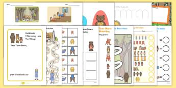 Goldilocks and the Three Bears  Work Sheets - - goldilocks, three bears, traditional tales. porridge, story, stories,