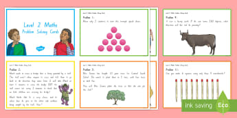 Level 2-3 Maths Problem Solving Challenge Cards - maths, problem solving, level 2, level 3, number