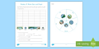 Bodies of Water Spin and Graph Activity Sheet - Bodies of Water, Landform, Earth's Surface, Graph, worksheet, Geography