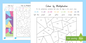 Colour by Multiplication Activity Sheet - New Zealand, maths, multiplication, basic facts, Year 3, age 7, age 8, colour by number, calculation