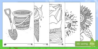 Summer Mindfulness Colouring Pages English/Afrikaans - Seasons, December, January, warm, seisoene, warm, pencils, EAL