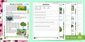 F-2 Spring in Australia Differentiated Reading Comprehension Activity - Spring, Australia, Seasons, Weather, reading, comprehension