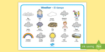 Weather Word Mat English/Spanish - Weather Word Mat - Weather display, KS1, word mat, mats, writing aid, Weather, weather chart, weathe