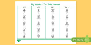 Fry Words The Third Hundred Word Mat