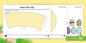 Easter Hat Craft Activity - Easter hat, Easter bonnet, Easter Craft, cut and stick, hat competition,