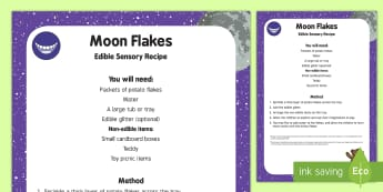 Moon Flakes Edible Sensory Recipe - Whatever Next, Jill Murphy, space, moon, dust, sensory play, exploration, imaginative play, space