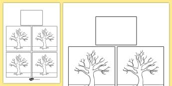 Season Blank Trees Themed Calendar Template - season, calendar