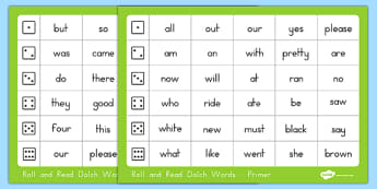 Dolch Word List Primer Roll and Read Mat - usa, america, dolch, word list, roll and read, mat, primer