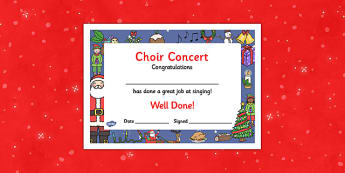 Christmas Themed Choir Singing Concert Certificates - christmas, themed, choir, singing, certificate, concert