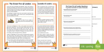 Great Fire of London Differentiated Reading Comprehension Activity English/Italian - KS1 Comprehensions, The Great Fire of London, Reading comprehension, Year 1 reading comprehension, Y