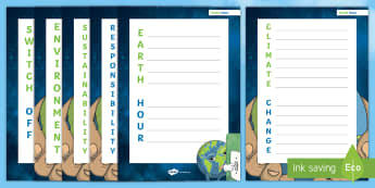 Earth Hour Acrostic Poem - Earth Hour, Climate Change, Responsibility, Sustainability, Environment, Switch Off, acrostic, poetr