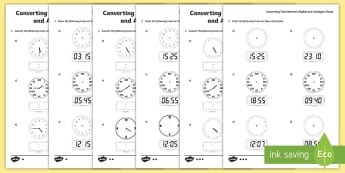 Converting Time between Digital and Analogue Clocks - Twinkl
