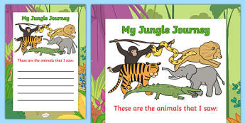 Jungle Animal Themed Animal List Writing Guide - walking, jungle