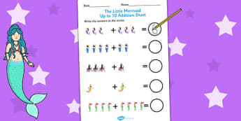 The Little Mermaid Up to 10 Addition Sheet - adding, numeracy