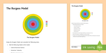 Urbanisation: The Burgess Model Activity Sheet - burgess, model, urban, urbanisation, city