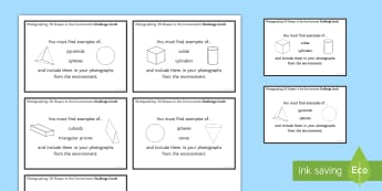 Photographing 3D Shapes in the Environment Challenge Cards - 3D shapes, challenge cards, task cards, photographs, environment, iPad, camera,Irish