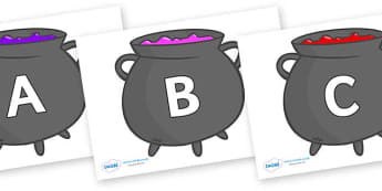 A-Z Alphabet on Cauldrons (Plain) - A-Z, A4, display, Alphabet frieze, Display letters, Letter posters, A-Z letters, Alphabet flashcards