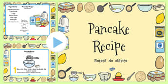 Pancake Recipe PowerPoint Romanian Translation - romanian, pancake, pancake day, recipe, cooking