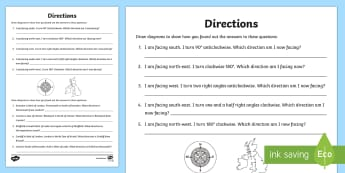 Directions Activity Sheet- directions, worksheet, compass, north