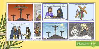 Easter Story Sequencing Cards US English/Spanish (Latin) - Easter Story Sequencing Shortened 8 Cards - easter, story, cards, story sequncing, squencing, easter