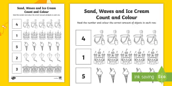 Sand, Waves and Ice Cream Count and Colour Activity Sheet - seaside, aistear, exploring my world, story, funfair, beach, sandcastle, numeracy, number, counting,