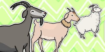 Different Sized Billy Goats Cut Outs - goats, cut outs, stories