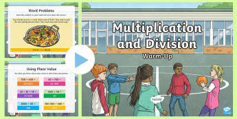 Year 5 Multiplication and Division Maths Warm-Up PowerPoint - KS2 Maths warm up powerpoints, Y5, Year 5, UKS2, multiplication, division, problem solving, reasonin