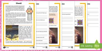 Comprensión lectora: Diwali - comprensión lectora, Diwali, festival, celebración, religión, Hinduismo, Hindú, Sijes, Sij, henn