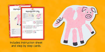 Handprint Pig Craft Instructions - hand, print, pig, craft, handprint