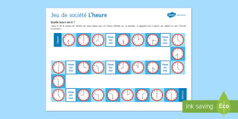 Telling the Time Differentiated Board Game French - KS3, French, Time,o'clock, half past, heure, et demie,French