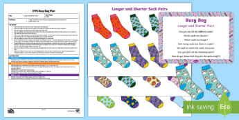 EYFS Longer and Shorter Pairs Busy Bag Plan and Resource Pack - socks, pairs, matching, length, comparitive length, longer, shorter, preschool activity