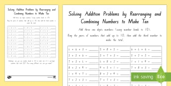 Solving Addition Problems by Rearranging and Combining Numbers to Make 10 Activity Sheet - New Zealand Maths Resource Moving