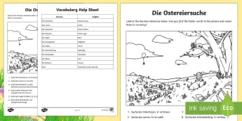 Easter Picture Read, Search and Colour Worksheet / Activity Sheet - Easter, Spring, German, Colours, Numbers, Game, Activity, Basic sentences, Reading
