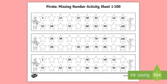 Pirate Missing Number 1-100 Worksheet / Activity Sheets - Pirate Missing Number 1-100 Worksheet / Activity Sheets - missing, number, sheet, worksheet / activity sheet, worksheet, pir