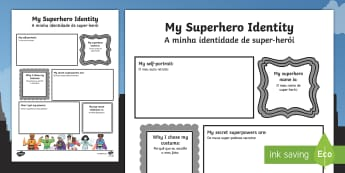 Superhero Transition Writing Frame English/Portuguese - Superhero Transition Writing Frame - superheroes, writing aid, Nursery Transition, reception transit