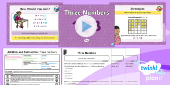 Y2 Addition and Subtraction Strategies (8) Lesson Pack - all possibilities, add three numbers, reason, explain, partition, year 2, year two, powerpoint, less