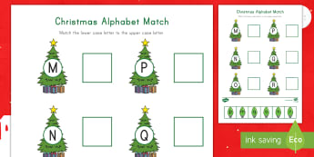 Christmas Alphabet M-R Matching Activity Sheet - Letter Recognition, Alphabet Recognition, Cutting Skills, Christmastime, Christmas, worksheet