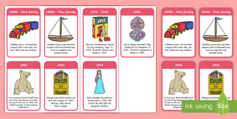 The History of Toys Timeline Flashcards -  - The History of Toys Timeline  - timeline, poster, display, history, toy manufacture, Victorian, tedd