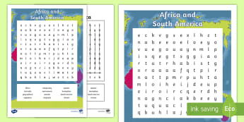 Africa and South America Word Search - ACHASSK087, Year 4, AC, Geography, vocabulary, word recognition, metalanguage, spelling,Australia