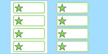 Editable Green Stars Drawer, Peg, Name Labels - Editable Label Templates, star, stars, Resource Labels, Name Labels, Editable Labels, Drawer Labels, Coat Peg Labels, Peg Label, KS1 Labels, Foundation Labels, Foundation Stage Labels, Teaching Label