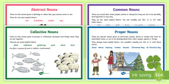 Types of Noun Display Posters  - nouns, types of nouns, categories, display posters, language,Irish