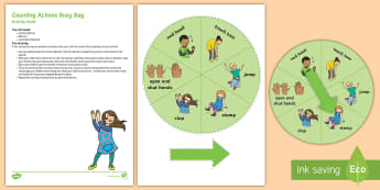 Counting Actions Busy Bag Resource Pack for Parents - maths, number, 1 to 1 Correspondence, counts, 2 year old