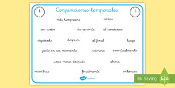 Tapiz de vocabulario: Conjunciones temporales - conjuntivos, tiempo, hora, vocabulario, tapiz de vocabulario, el tiempo, la hora, ahora, después,Sp