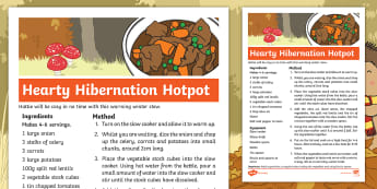 Don't Hog the Hedge! Hearty Hibernation Hotpot Recipe - Twinkl Originals, Fiction, Autumn, Hibernate, Woodland, Animals, stew, soup, broth, warming winter r
