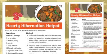 Don't Hog the Hedge! Hearty Hibernation Hotpot Recipe - Twinkl Originals, Fiction, Autumn, Hibernate, Woodland, Animals, stew, soup, broth, warming winter r