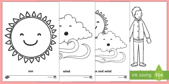 The Wind and the Sun Colouring Page - colour, sun, wind, thai, traditional tale
